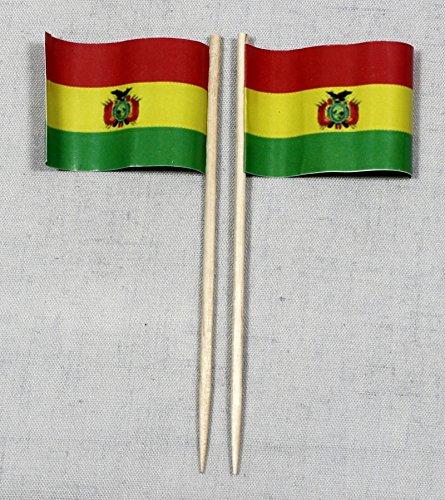 Party-Picker Flagge Bolivien Papierfähnchen in Profiqualität 50 Stück 8 cm Offsetdruck Riesenauswahl aus eigener Herstellung