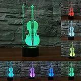 Violoncello 3D, luce a LED notturna colorata, decorazione per casa e ufficio, regalo per un musicista creativo o per bambini