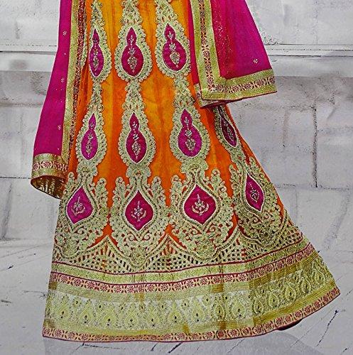 Designer Braut Net Bollywood Sarees Lehenga Stil Ethnic Women Lehanga Kleid Orange und Magenta