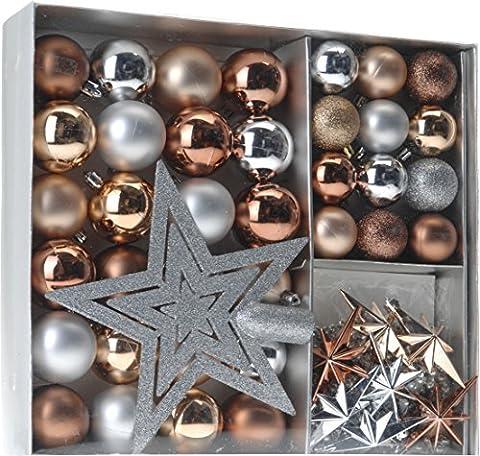 Christmas Tree Decoration Set 45 Piece Metalltönen (Gold Silver Copper etc.) - 36 balls, Weihnachtsbumspitze Dekosterne, and