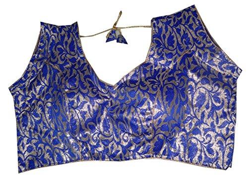 Bigfashionshop Women's Designer Blouse Brocade Silk Blue Golden Stitched Padded Choli Medium  available at amazon for Rs.499