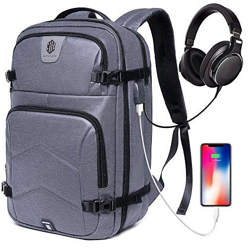 Large Travel Laptop Backpack Men & Women, School Backpack Water Resistant Work Business College Travel Backpack USB Charging Port & Headphone Interface Fits Under 17'' Laptop (Grau)