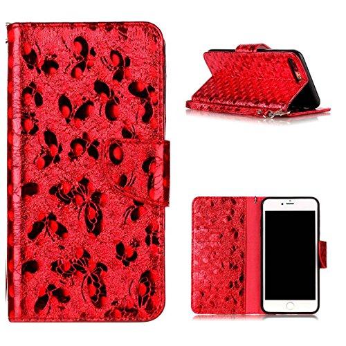 """MOONCASE iPhone 8 Plus/iPhone 7 Plus Flip Cover, [Butterfly Pattern] Leder Handyhülle Built-in Ständer TPU Stoßfest Schutz-tasche Case für iPhone 7 Plus/iPhone 8 Plus 5.5"""" Schwarz Red"""