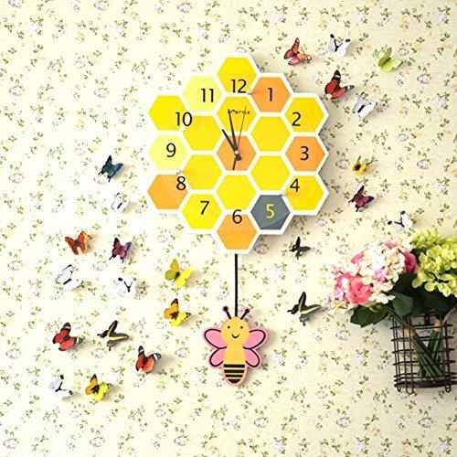 Unbekannt Cartoon Rocking Clock Persönlichkeit, Kinder Wecker Preis Schalldämpfer Stil Gelb Gold Biene Gelb Gold 14 cm