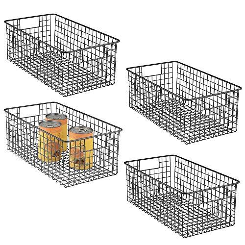 mDesign 4er-Set Allzweckkorb - tiefer Aufbewahrungskorb aus Metalldraht - kompakter Drahtkorb mit Griffen - universelle Gitterbox für Küche, Bad und andere Räume - mattschwarz