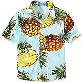 SSLR Jungen Gelb Ananas Baumwolle Freizeit Kurzarm Hawaii Hemd (X-Large (13-16Jahren), Blau)