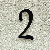 Colours-Manufaktur Hausnummer Nr. 2 - Schriftart: Klassisch - Höhe: 20-30 cm - viele Farben wählbar (RAL 9005 tiefschwarz (schwarz) glänzend, 20 cm)