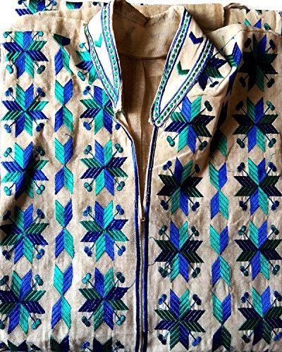 Phulkari Embroidered Women's cotton semi-stitched Kurti color white
