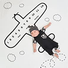 Babymoon Milestone Aeroplane Flying High Designer Growth Baby Photography Props- Photo Blanket - Photoshoot Bedsheet - Best Baby Shower Gift