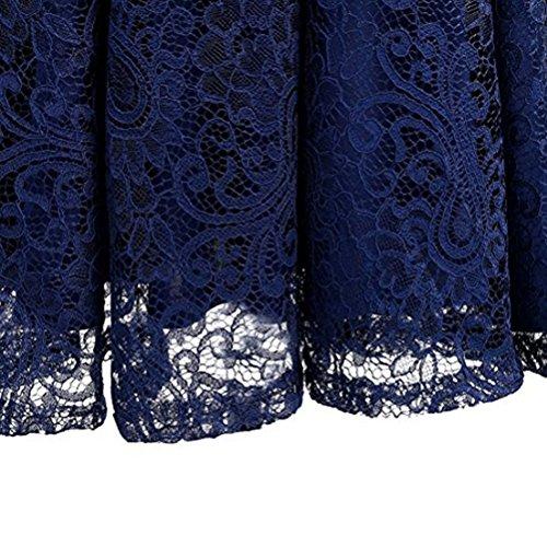 Robe Dentelle Femme Robe de Cocktail de mariage Vintage Sans Manches Col Rond avec une ceinture Dark Blue