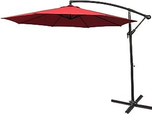 AUFEN Alu Sonnenschirme 300cm/350cm mit kurbel UV Schutz 40+ - balkonschirm gartenschirm terrassenschirm höhenverstellbarer