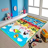 The Home Talk Multi Color Play Mat/ Learning Mat for Kids, Size 4 x 6 feet, Material Polyester with foam filling, Floor Grip / Soft, Best for Living Room, Kids room/ nursery, with a zipper bag