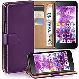 moex Huawei Honor 6 | Hülle Lila mit Karten-Fach 360° Book Klapp-Hülle Handytasche Kunst-Leder Handyhülle für Honor 6 Case Flip Cover Schutzhülle Tasche