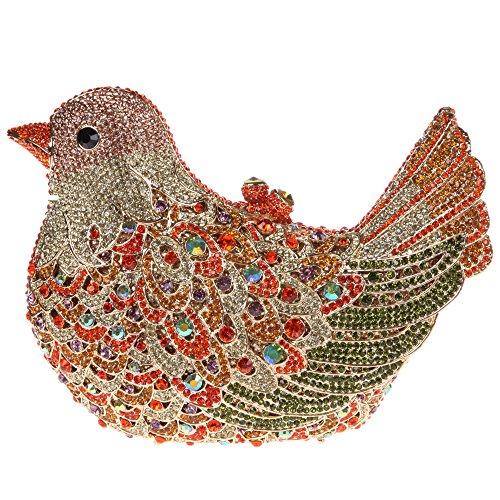 Bonjanvye Glitter Rhinestone Bird Clutch Purses Evening Clutch Bag for Girls Orange orange