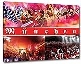 Ultras München Collage, Bild auf Leinwand XL , fertig gerahmt, 80 x 60 cm