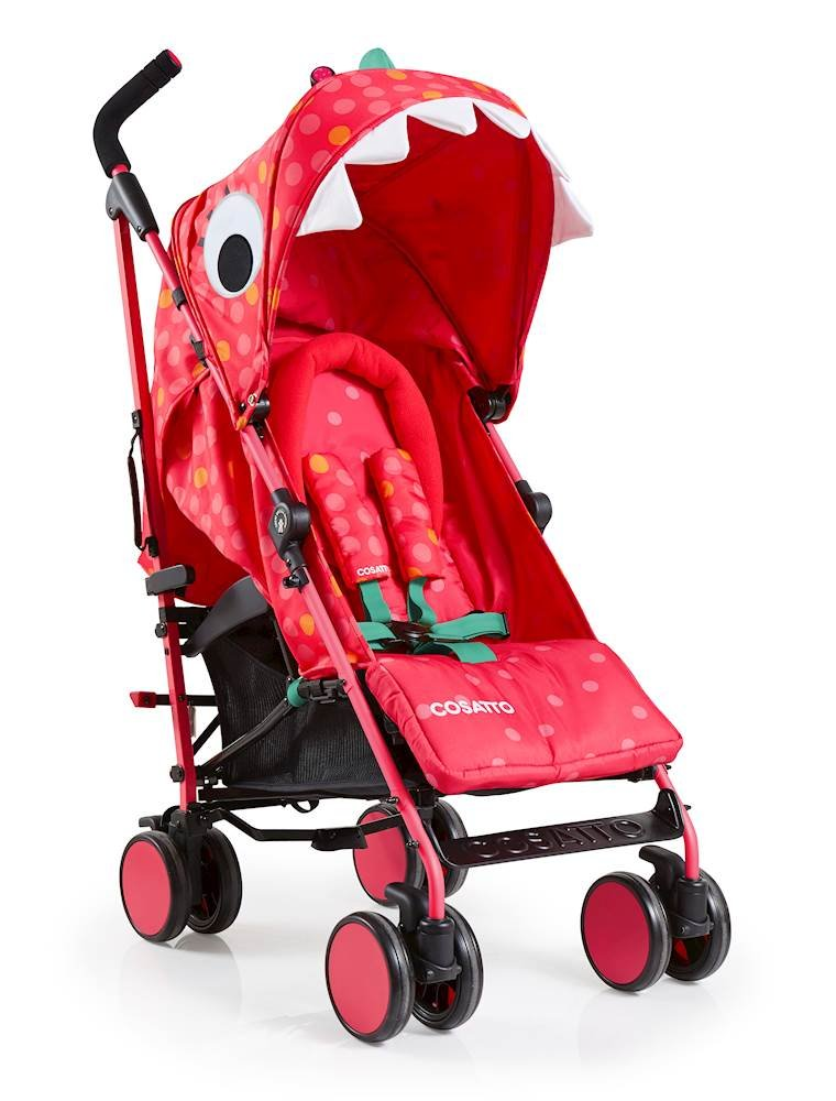 Cosatto Supa 2018 Baby Stroller, Suitable from Birth to 25 kg, Miss Dinomite Cosatto Suitable from birth up to 25 kg stroller; umbrella fold lightweight aluminium chassis with carry handle and folded free-standing feature For added comfort Supa 2018 has an integral upf100+ extended hood; one handed four position seat recline and adjustable calf support Supa 2018 has everything you need: Spacious storage basket, co-ordinating fleece lined footmuff, reversible washable liner, chest pads and recent born head hugger, rain cover and handy cup holder 2