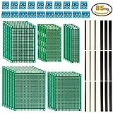 LUWANZ 85tlg Lochrasterplatte Leiterplatte Set inkl. 25 x Lochrasterplatine / PCB Board + 20 x 40 Pin Stecker + 20 x 2,54 mm Buchsenleiste (40Pin) + 20 x Leiterplatten Anschlussklemme (2- / 3-polig), Sortiment