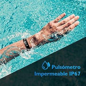 Pulsera Actividad Pulsómetro Impermeable IP67 GRAN'T Pulsera Inteligente con Monitor de Ritmo Cardíaco Monitor de Actividad Podómetro Monitor de Calorías y Sueño Pulsera Bluetooth Móvil Compatible con