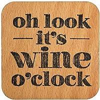 Glasuntersetzer aus Holz, - mit Spruch 'Oh look it's wine o'clock' -