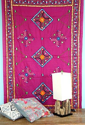 Guru-Shop Besticktes Tuch mit Spiegelchen, Wandtuch, Pareo - Pink, Rosa, Baumwolle, 220x110 cm, Bettüberwurf, Sofa Überwurf