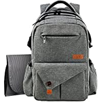 HapTim Large Baby Nappy Changing Bag Backpack W/Stroller Pushchair Straps/Insulated Pockets/Changing Mat,18 Pockets Excellent Diaper Bag Backpack for Mom & Dad(Grey,uk5284G)