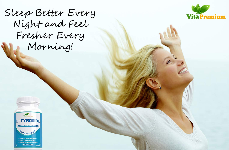 61EnAPq0fYL - L-Tyrosine Extra Strength, Amino Acids, 50 Veggie Capsules by Vita Premium