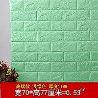 ... Gestreifte Tapeten Für Schlafzimmer Wohnzimmer TV Kulisse Schaumstoff  3D Brick Textur Selbstklebende Wasserdichte Wände, Helle Grüne Dicke 70 *  77 Cm, ...