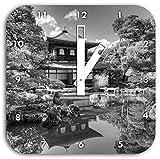 Ginkaku-ji-Tempel in Kyoto Kunst B&W, Wanduhr Durchmesser 28cm mit schwarzen eckigen Zeigern und Ziffernblatt, Dekoartikel, Designuhr, Aluverbund sehr schön für Wohnzimmer, Kinderzimmer, Arbeitszimmer