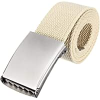 Trimming Shop Unisex Webbing Belt Webbed Canvas Strap Metal Flip Closure Buckle Adjustable Army Style Waist Band Outdoor…