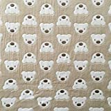 Teddybär beige Super Soft Cuddle Fleece Stoff 160cm (160cm) ca. Breite