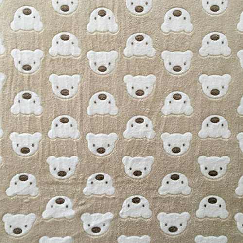 Teddybär beige Super Soft Cuddle Fleece Stoff 160cm (160cm) ca. Breite (Stoff Fleece)
