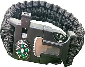 Multifunctional Bracelet Sailor Outdoor Survival kit Compass Flint Fire Starter Whistle for Hiking Camping Emergency More(Black)