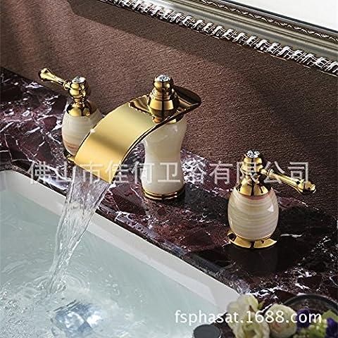 Furesnts casa moderna cucina e il lavandino del bagno rubinetti tutti i bronze gold jade cade al di fuori dell'acqua tre fori Lavabo SD il lavandino del bagno rubinetti,(Standard G 1/2 tubo flessibile universale