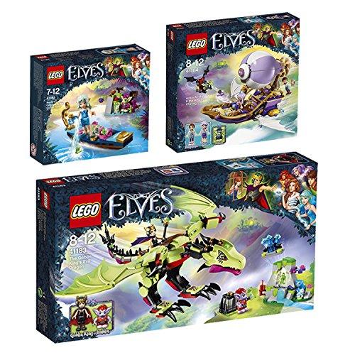 Preisvergleich Produktbild LEGO Elves 3er Set 41181 41183 41184 Naidas Gondel und diebische Kobold + bose Drache des Kobold-Konigs + Airas Luftschiff und Jagd nach Amulett - sofort lieferbar!