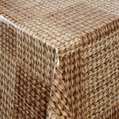 Wachstuch Tischdecke Gartentischdecke mit Fleecerücken Gartentischdecke, Pflegeleicht Schmutzabweisend Abwaschbar Rattan 100x 140 cm - Größe wählbar