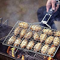 Parrilla de BBQ cesta flexible, de acero inoxidable parrilla para cocina/barbacoa al aire libre con mango largo para verduras pescado de Gamba y muchos otros alimentos de carbón llean