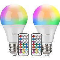 Ampoules LED Couleur (Lot de 2), OMERIL 10W RGBW Dimmable LED Bulbs E27 Télécommande Lampes d'Ambiance avec Fonction de Mémoire et Minuterie, 7 niveaux de Luminosité pour Maison/Décoration/Bar/Fête