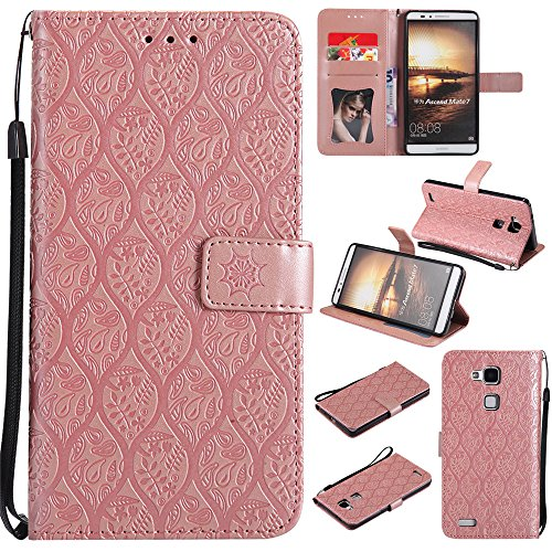 BestCatgift Mate 7 Wallet Hülle, [Rattan Flower] Mate 7 PU Leather Cover Wallet Phone Hülle für Huawei Ascend Mate7 - Pink