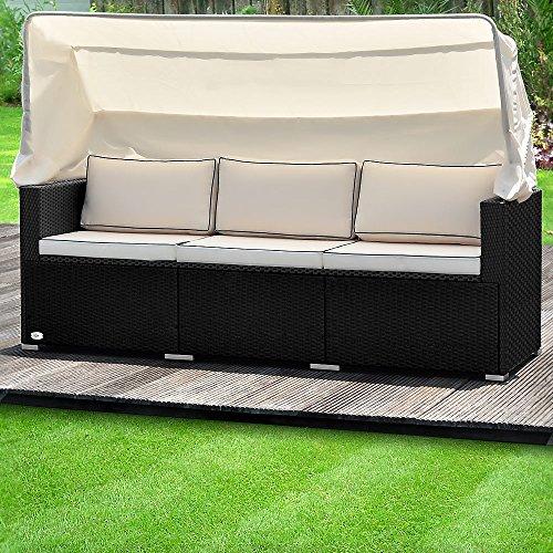 Deuba Poly Rattan Gartenbank Schwarz mit faltbarem Dach | 7cm Dicke Sitzauflagen Creme |...