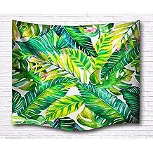 A.Monamour Tropicales Hojas De Palma Verde Primavera Tema Imprimir Tapicería De Tela Decoración Colgante De Pared Para Niños Niños Niñas Dormitorio Dormitorios