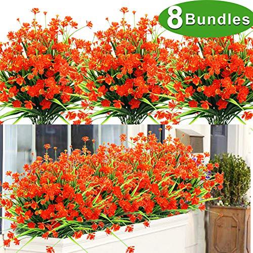 AMENON Künstliche Blumen, 8 Bündel für den Außenbereich, UV-beständig, künstlicher Kunststoff, Narzissen, Sträucher, Pflanzen 3-Artificial Flower-red