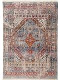 Benuta Teppich Vintage Safira Blau 240x310 cm - Vintage Teppich im Used-Look