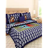 Jaipuri Style Cotton Sanganeri Printed Jaipuri Double Bedsheet With 2 Pillow Covers (1 Bedsheet 2 Pillow Covers)