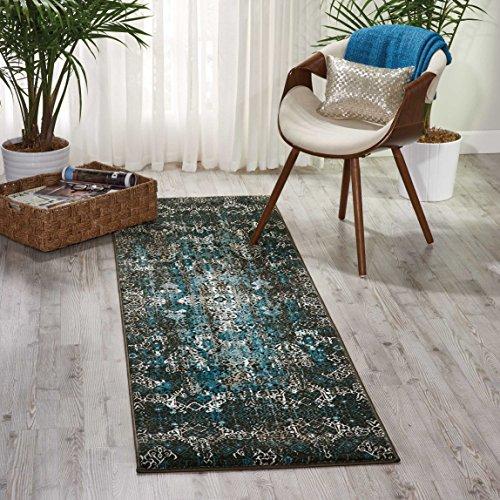 Nourison Teppich Mondrian 99446341266-Blau maschinell gewebt Teppich, blau, 2ft 2Zoll x 7ft 6 - Nourison Teppich Blau