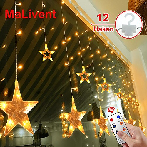 12 Sterne LED Lichtervorhang Lichterkette im Innen/Außen, MaLivent Niederspannung Sternenvorhang warmweiß, wasserdicht nach IP65, 8 Fernbedienung Leuchtmodi, Weihnachtsdeko für Fenster Garten Zimmer