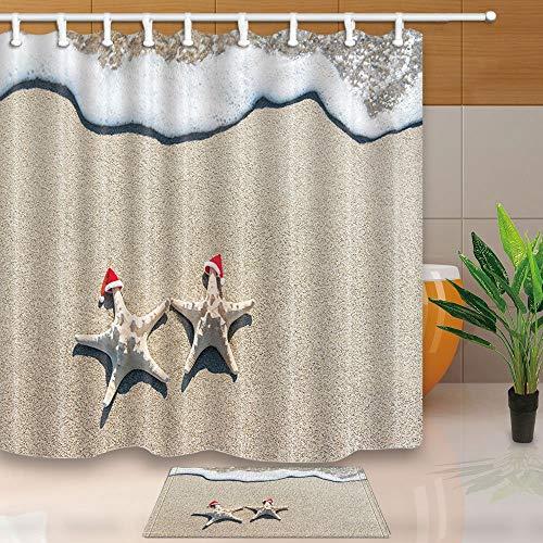 EdCott Weihnachtsdekor Sea-Stars Paar in roten Santa Hüte am Ocean Sandy Beach 71X71in Mildew beständiger Polyester Stoff Duschvorhang Anzug mit 40x60cm Flanell Rutschfeste Boden Badteppiche