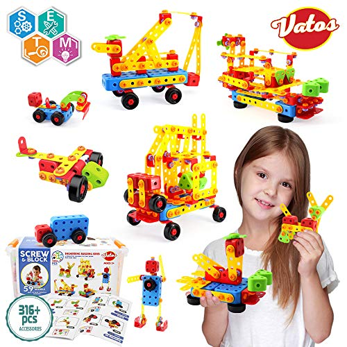 VATOS Building Blocks STEM Toy 316 Pcs Creative Construction Building Toy Stem Learning Toy Set Educational Engineering Blocks for Ages 3-10 Year Old Boys & Girls | Best Toy Gift for Kids Birthday