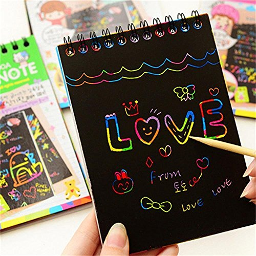 papier,Papier à gratter pour les enfants,Scratch Paper Note avec Crayon en bois,Mini cahier de création,Cartes à gratter,Perfect cadeau pour les filles ou les garçons- 4 Pièces … (Rainbow Scratch Paper)
