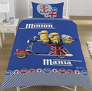 Minions Mania Hello London Parure de lit 1 place