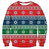 Loveternal Unisex Maglione Natale Stampato Christmas Jumper Famiglia Cute Elf novità Manica Lunga Pullover Felpa età 13-14 Anni